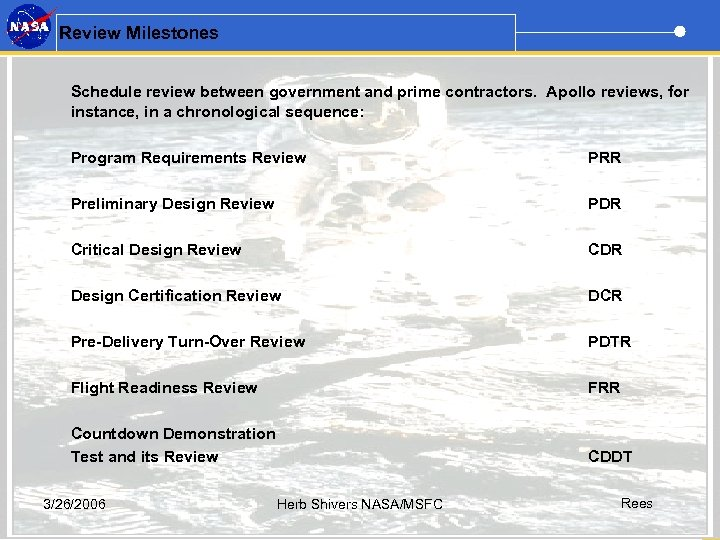 Review Milestones Schedule review between government and prime contractors. Apollo reviews, for instance, in