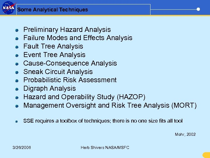 Some Analytical Techniques Preliminary Hazard Analysis Failure Modes and Effects Analysis Fault Tree Analysis