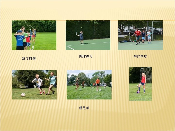 练习射箭 网球练习 踢足球 学打网球