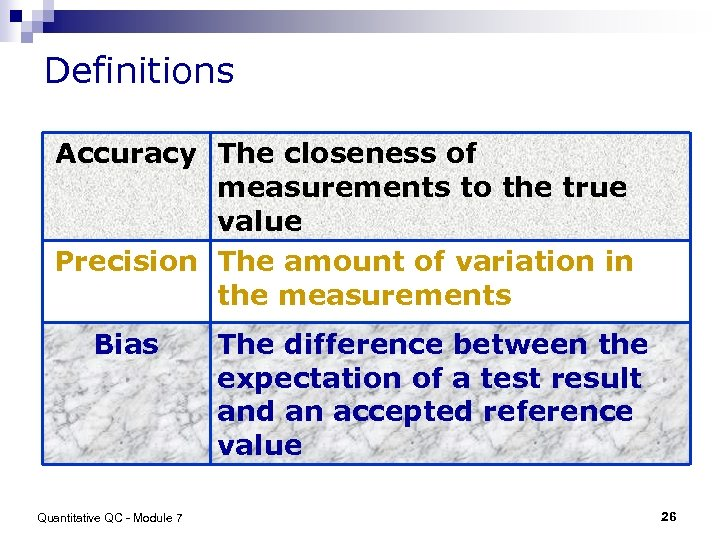 Definitions Accuracy The closeness of measurements to the true value Precision The amount of