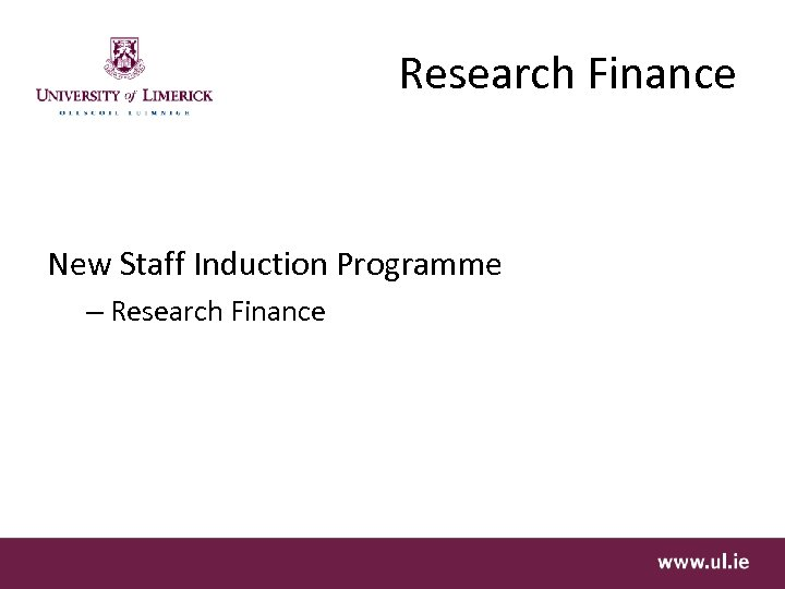Research Finance New Staff Induction Programme – Research Finance