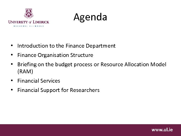 Agenda • Introduction to the Finance Department • Finance Organisation Structure • Briefing on