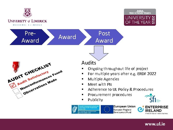Pre. Award Post Award Audits § § § § Ongoing throughout life of project