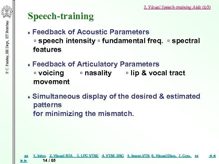 P. C. Pandey, EE Dept, IIT Bombay 2. Visual Speech-training Aids (1/3) Speech-training ♦