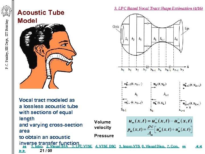 P. C. Pandey, EE Dept, IIT Bombay Acoustic Tube Model 3. LPC Based Vocal