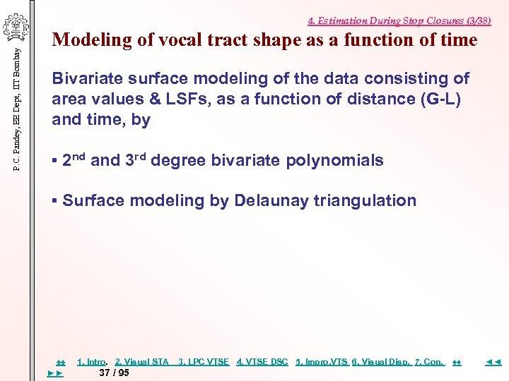 P. C. Pandey, EE Dept, IIT Bombay 4. Estimation During Stop Closures (3/38) Modeling
