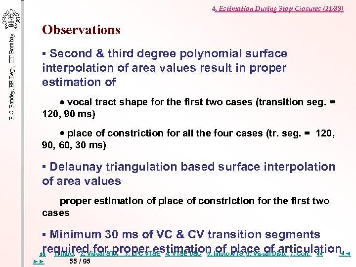 P. C. Pandey, EE Dept, IIT Bombay 4. Estimation During Stop Closures (21/38) Observations
