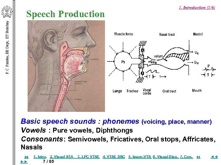 P. C. Pandey, EE Dept, IIT Bombay Speech Production 1. Introduction (1/6) Basic speech