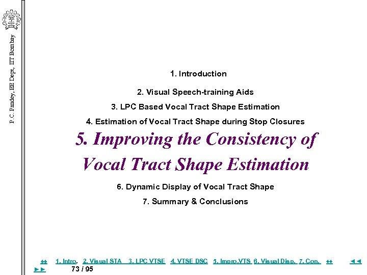 P. C. Pandey, EE Dept, IIT Bombay 1. Introduction 2. Visual Speech-training Aids 3.