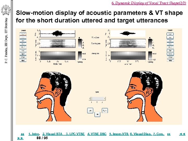 P. C. Pandey, EE Dept, IIT Bombay 6. Dynamic Display of Vocal Tract Shape(2/2)