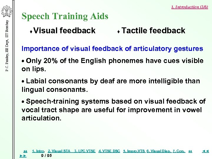 P. C. Pandey, EE Dept, IIT Bombay 1. Introduction (3/6) Speech Training Aids ♦