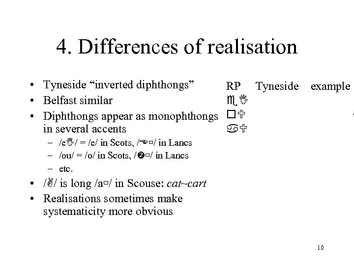 """4. Differences of realisation • Tyneside """"inverted diphthongs"""" • Belfast similar • Diphthongs appear"""