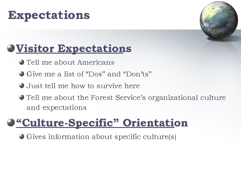 """Expectations Visitor Expectations Tell me about Americans Give me a list of """"Dos"""" and"""
