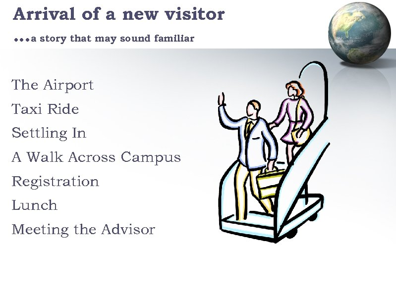Arrival of a new visitor …a story that may sound familiar The Airport Taxi