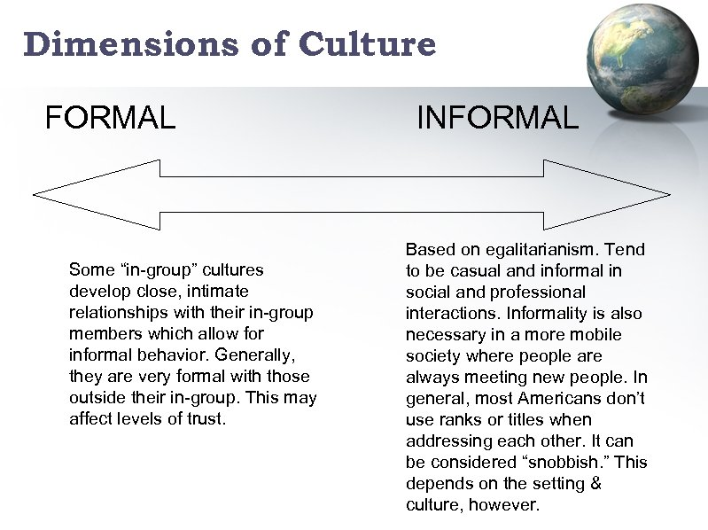 """Dimensions of Culture FORMAL Some """"in-group"""" cultures develop close, intimate relationships with their in-group"""
