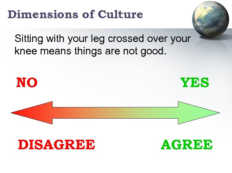Dimensions of Culture Sitting with your leg crossed over your knee means things are