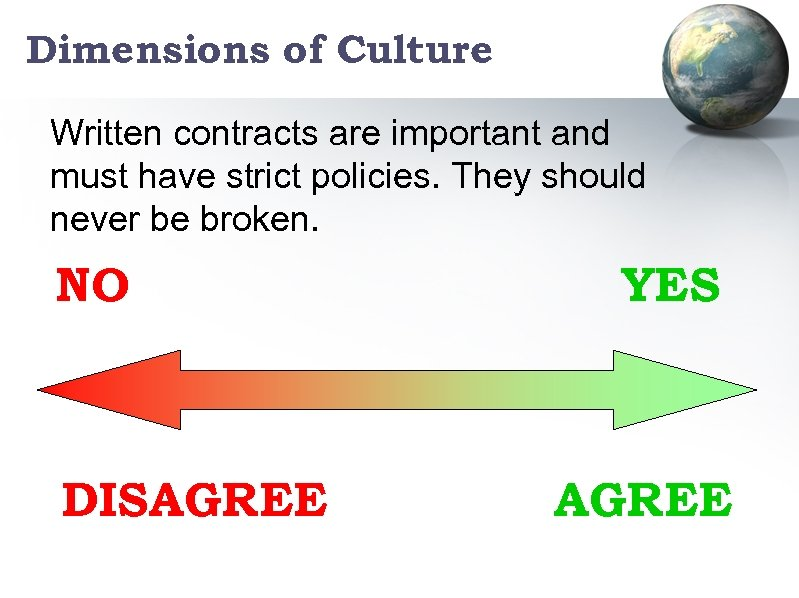 Dimensions of Culture Written contracts are important and must have strict policies. They should