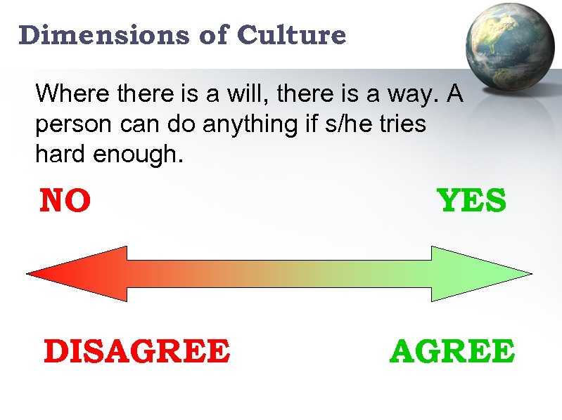 Dimensions of Culture Where there is a will, there is a way. A person