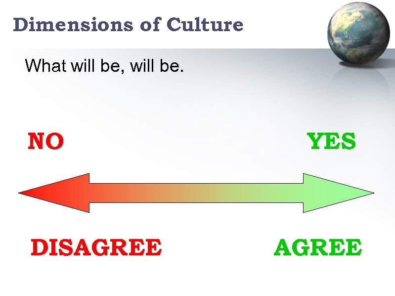 Dimensions of Culture What will be, will be. NO DISAGREE YES AGREE