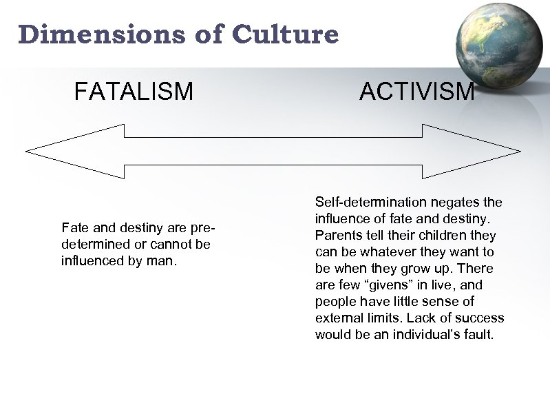 Dimensions of Culture FATALISM Fate and destiny are predetermined or cannot be influenced by