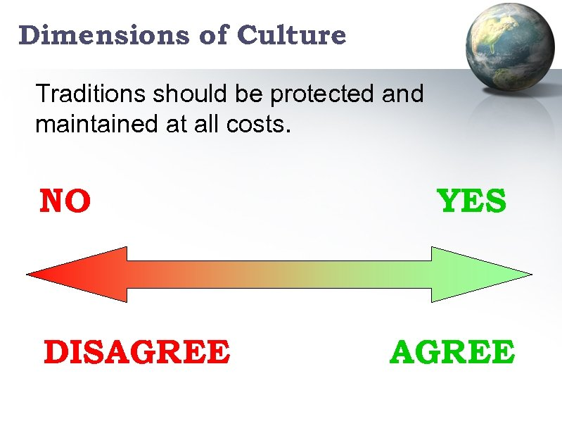 Dimensions of Culture Traditions should be protected and maintained at all costs. NO DISAGREE