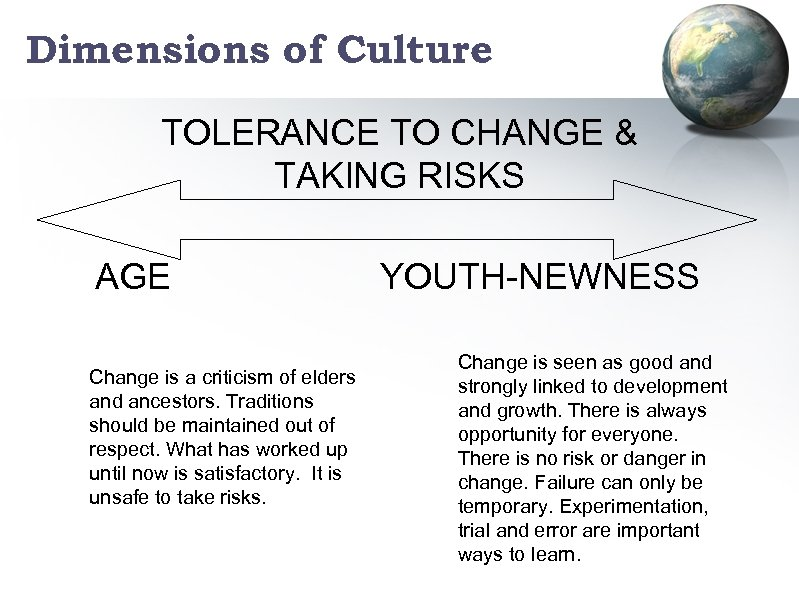 Dimensions of Culture TOLERANCE TO CHANGE & TAKING RISKS AGE Change is a criticism