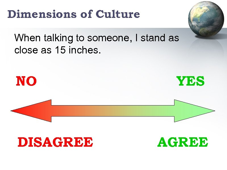 Dimensions of Culture When talking to someone, I stand as close as 15 inches.