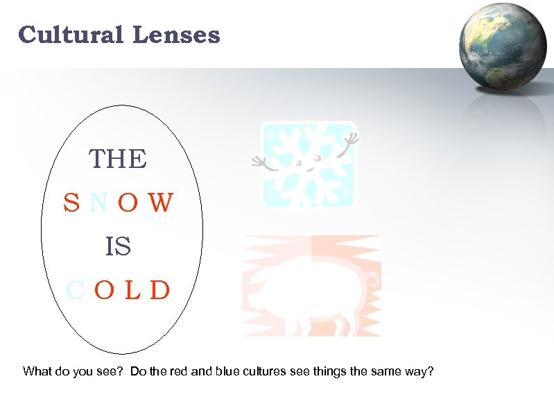 Cultural Lenses THE SNOW IS COLD What do you see? Do the red and