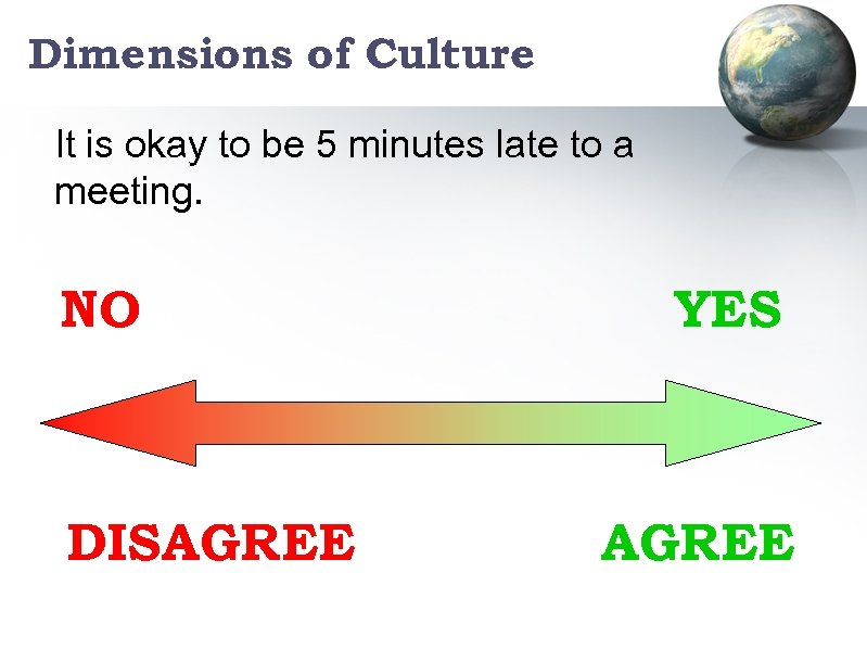 Dimensions of Culture It is okay to be 5 minutes late to a meeting.