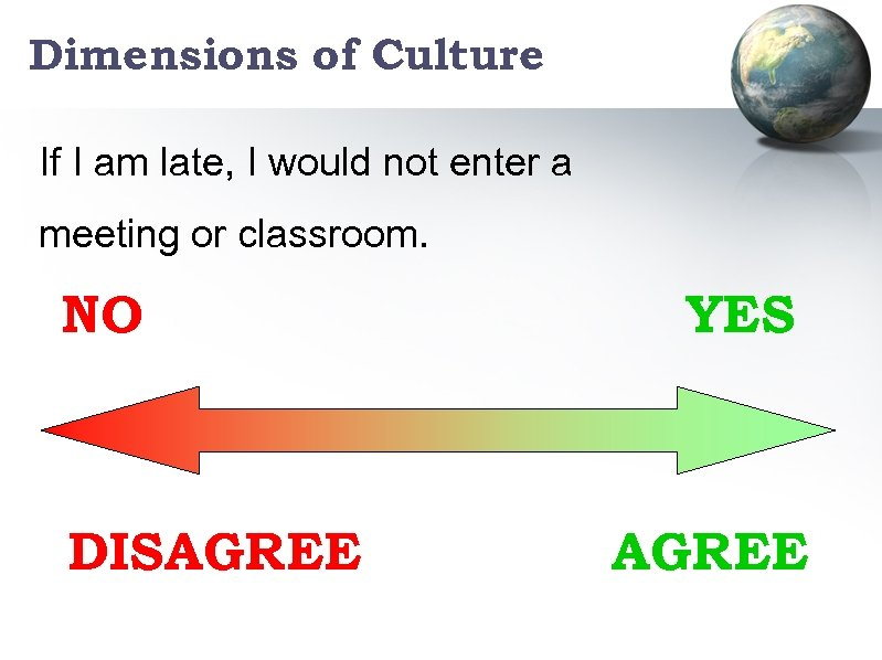 Dimensions of Culture If I am late, I would not enter a meeting or