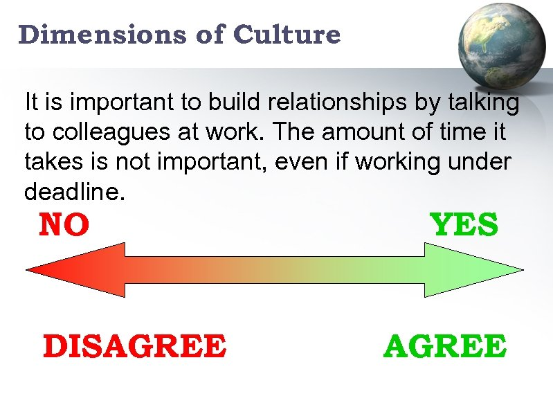 Dimensions of Culture It is important to build relationships by talking to colleagues at