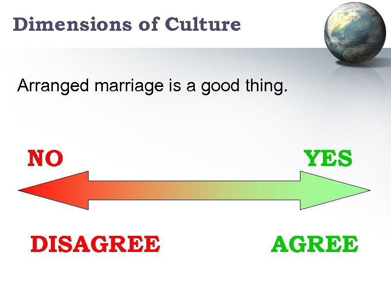 Dimensions of Culture Arranged marriage is a good thing. NO DISAGREE YES AGREE