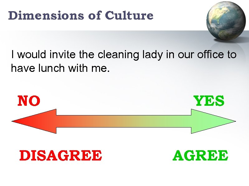 Dimensions of Culture I would invite the cleaning lady in our office to have