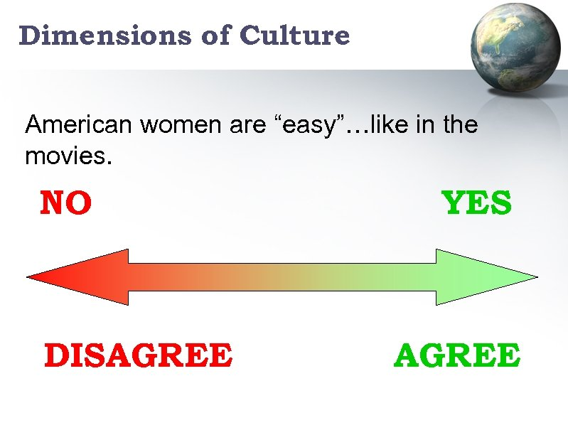 """Dimensions of Culture American women are """"easy""""…like in the movies. NO DISAGREE YES AGREE"""