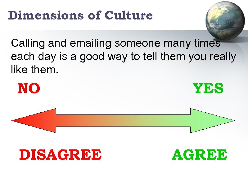Dimensions of Culture Calling and emailing someone many times each day is a good