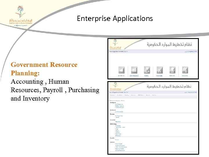 Enterprise Applications Government Resource Planning: Accounting , Human Resources, Payroll , Purchasing and Inventory