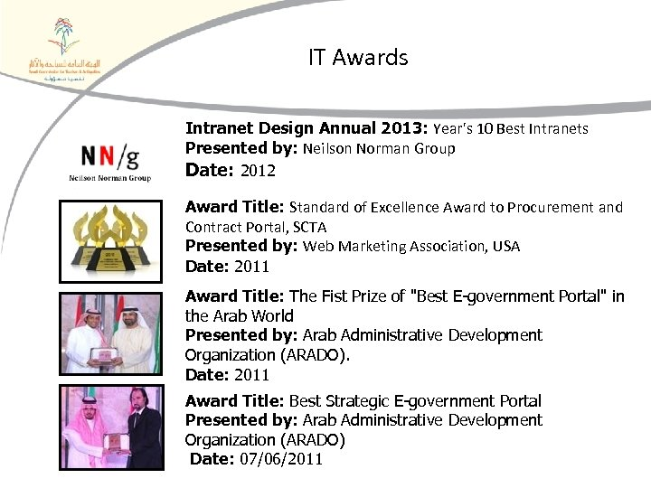 IT Awards Intranet Design Annual 2013: Year's 10 Best Intranets Presented by: Neilson Norman