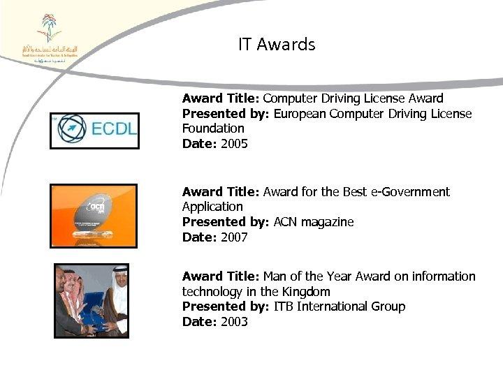 IT Awards Award Title: Computer Driving License Award Presented by: European Computer Driving License