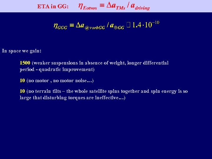 ETA in GG: In space we gain: 1500 (weaker suspensions in absence of weight,