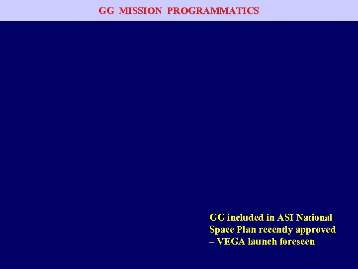 GG MISSION PROGRAMMATICS GG included in ASI National Space Plan recently approved – VEGA