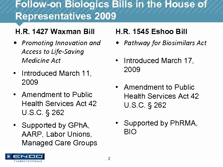 Follow-on Biologics Bills in the House of Representatives 2009 H. R. 1427 Waxman Bill
