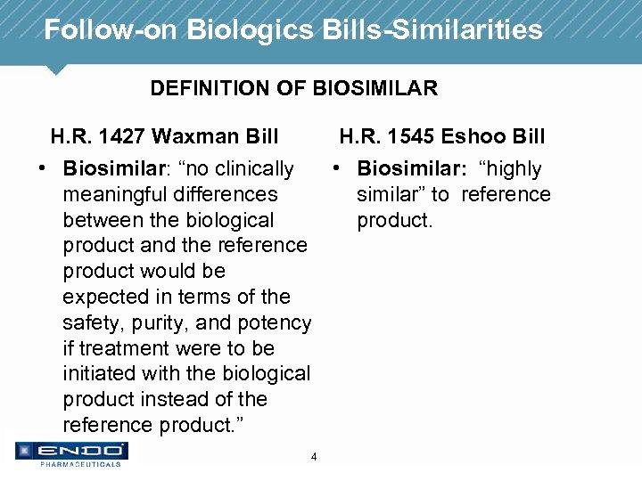 Follow-on Biologics Bills-Similarities DEFINITION OF BIOSIMILAR H. R. 1427 Waxman Bill H. R. 1545