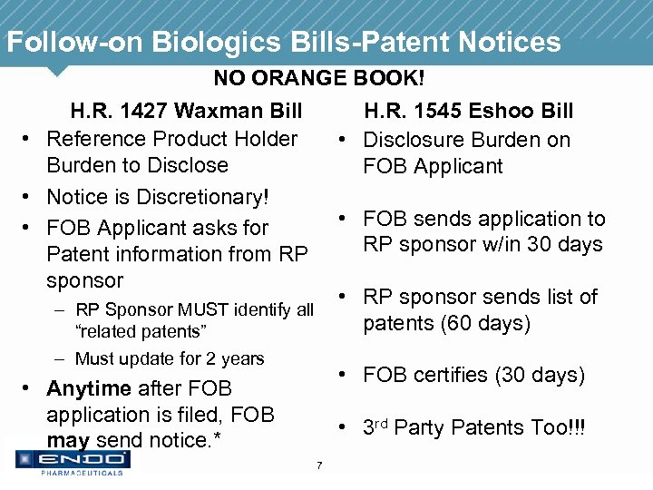 Follow-on Biologics Bills-Patent Notices NO ORANGE BOOK! H. R. 1427 Waxman Bill H. R.