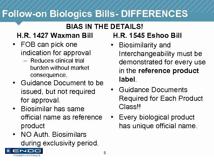Follow-on Biologics Bills- DIFFERENCES BIAS IN THE DETAILS! H. R. 1427 Waxman Bill H.