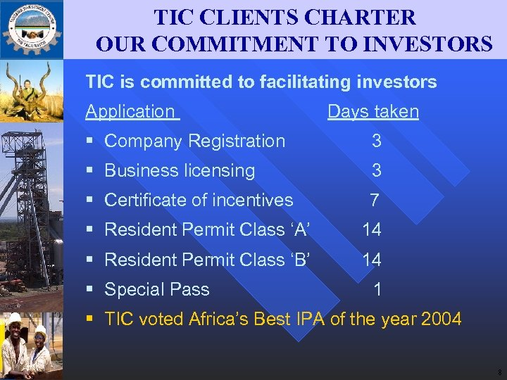 TIC CLIENTS CHARTER OUR COMMITMENT TO INVESTORS TIC is committed to facilitating investors Application