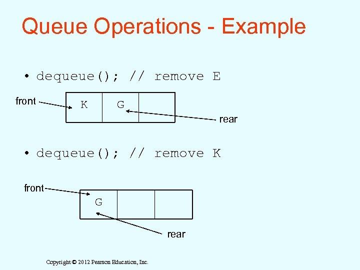 Queue Operations - Example • dequeue(); // remove E front K G rear •