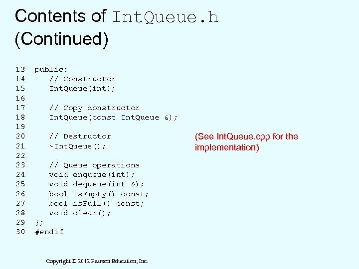 Contents of Int. Queue. h (Continued) 13 14 15 16 17 18 19 20