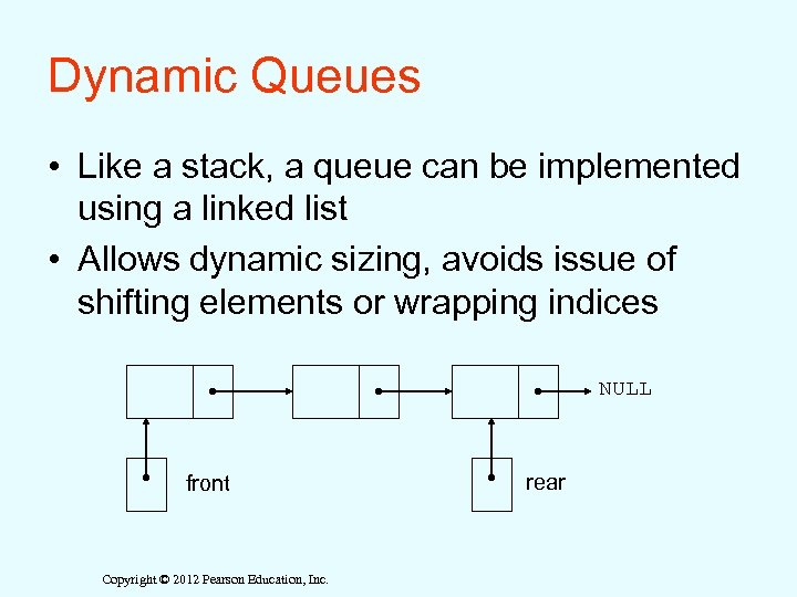 Dynamic Queues • Like a stack, a queue can be implemented using a linked