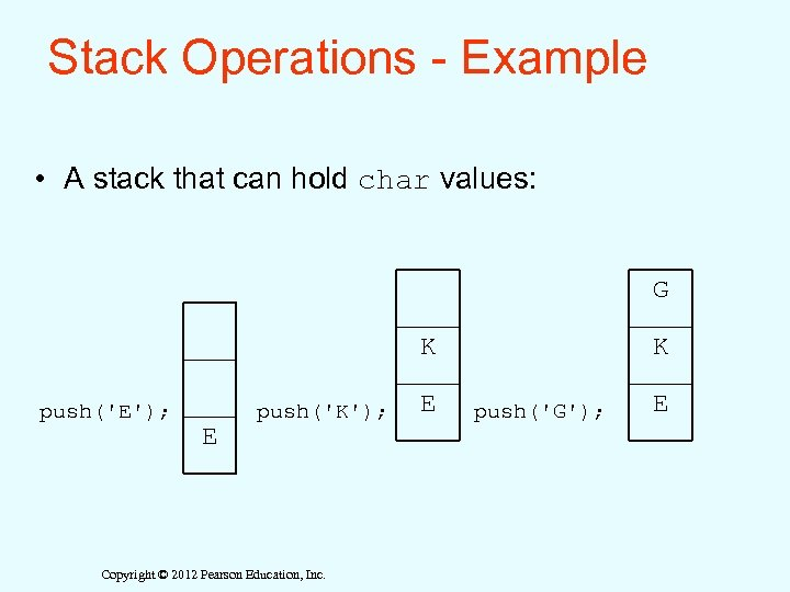 Stack Operations - Example • A stack that can hold char values: G K