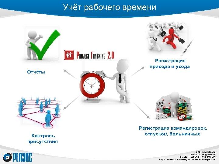 Учёт рабочего времени Отчёты Контроль присутствия Регистрация прихода и ухода Регистрация командировок, отпусков, больничных